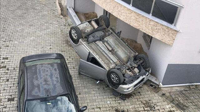 Tekirdağ'da ilginç kaza: Otomobil 10 metreden yere çakıldı
