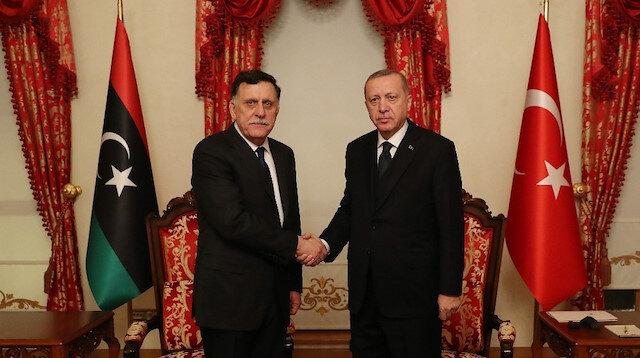 Cumhurbaşkanı Erdoğan, Libya UMH Başkanı Serrac'ı kabul etti