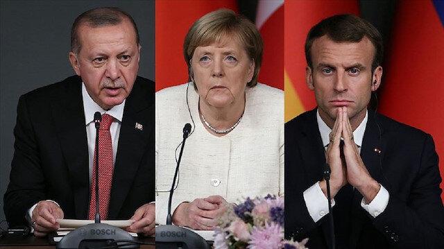 Cumhurbaşkanı Erdoğan, Merkel ve Macron'la görüştü