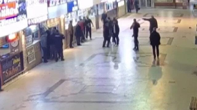 Otogarda silahlı çatışma kamerada