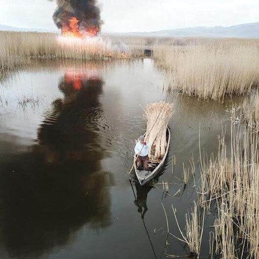 Eber Gölü çevresinde yangın çıkaran şüpheli drone ile tespit edildi
