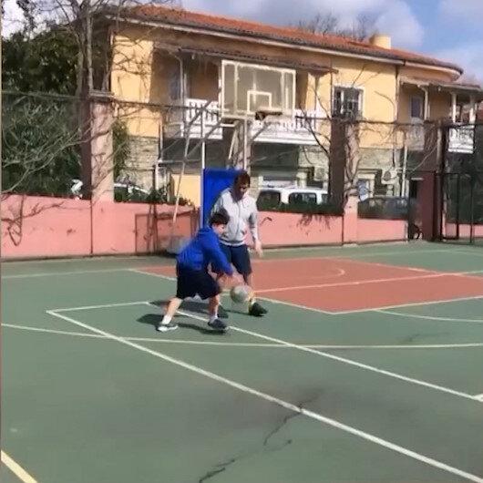 Anadolu Efes idmanı iptal etti: Ergin Ataman oğluyla basketbol maçı yaptı