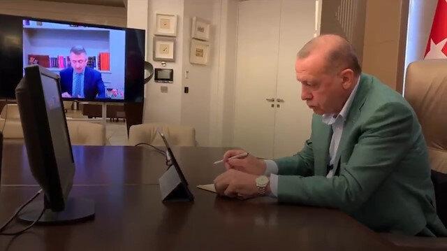 Erdoğan süreci adım adım takip ediyor: Bakanlarla telekonferans yaptığı anlar yayınlandı
