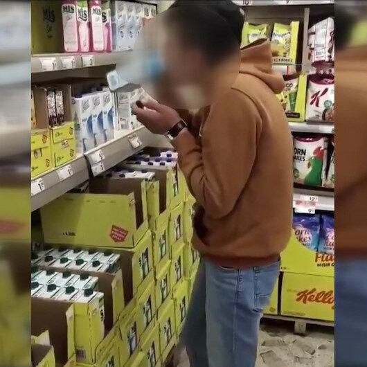 Marketteki sütleri içip, görüntülerini paylaşan çocuk yakalandı