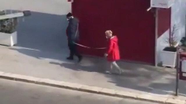 Yaşlı çiftin metreli sosyal mesafe önlemi sosyal medyada gündem oldu