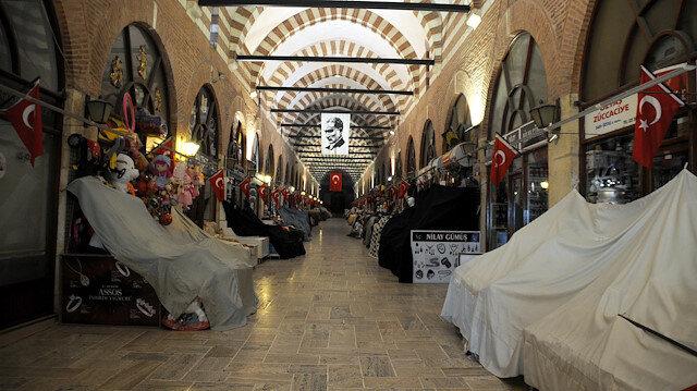 Edirne'de tarihi çarşılar 'koronavirüs' tedbirleri kapsamında kapatıldı