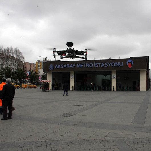Polisten vatandaşlara drone ile evde kalın uyarısı