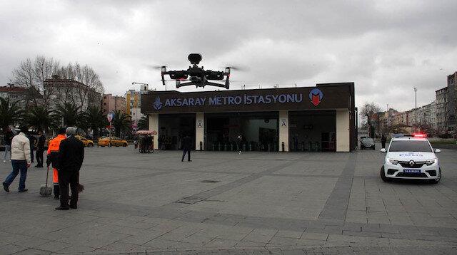 Polisten vatandaşlara drone ile 'evde kalın' uyarısı