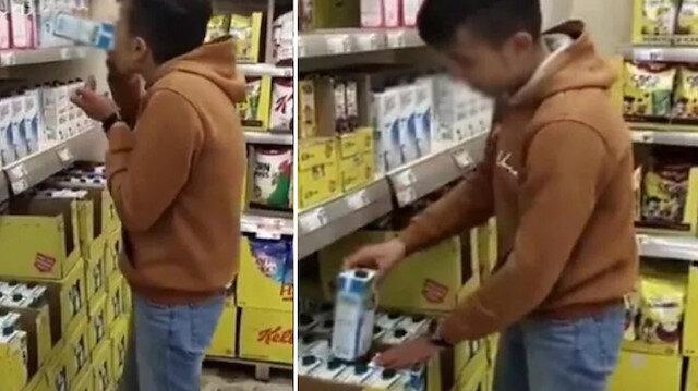 Adıyaman'da marketteki sütleri içip görüntülerini sosyal medyada paylaşan çocuk yakalandı