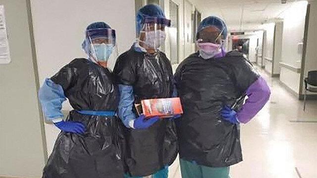 ABD'de hastanede skandal: Önlükleri tükenen hemşireler koronavirüsten korunmak için çöp poşeti giydi