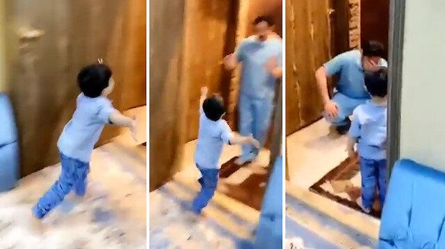 Hastaneden dönen doktor baba, kendisine koşan oğluna sarılamıyor