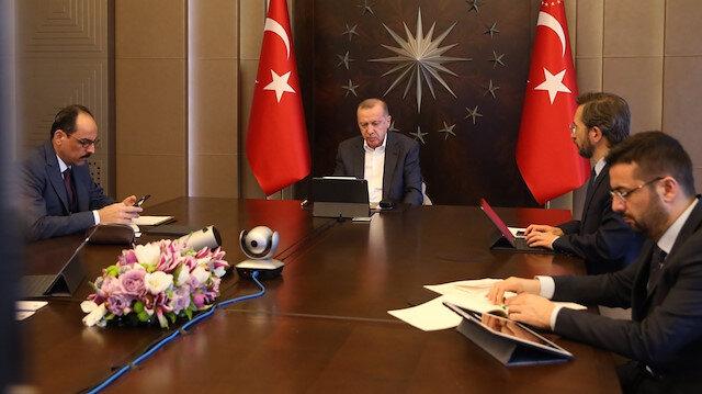 Cumhurbaşkanı Erdoğan, MİT Başkanı ile video konferans yöntemiyle görüştü