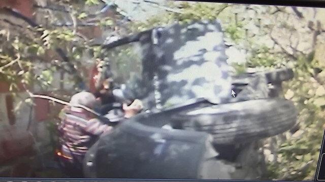 Bahçeye düşen otomobilin sürücüsünü böyle kurtardılar