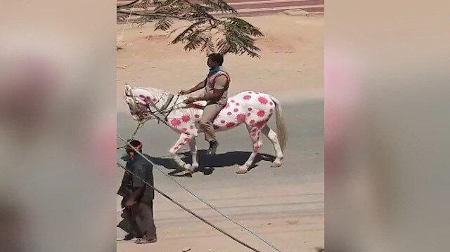 Farkındalık yaratmak için koronavirüs şeklini üzerine çizdiği at ile sokaklarda dolaştı