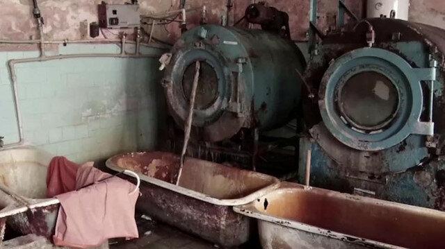 Sovyet döneminden kalma çamaşır makineleriyle dezenfekte ediyorlar