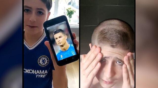 Cristiano Ronaldo saçı isteyen çocuğa babasından gerçek Ronaldo şoku