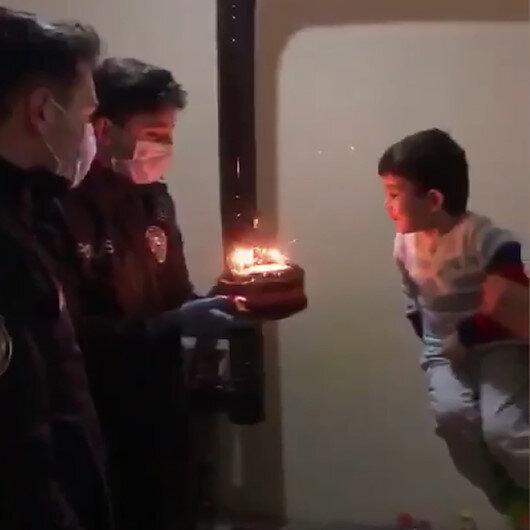 Polis amcalarından minik Rıdvana doğum günü sürprizi