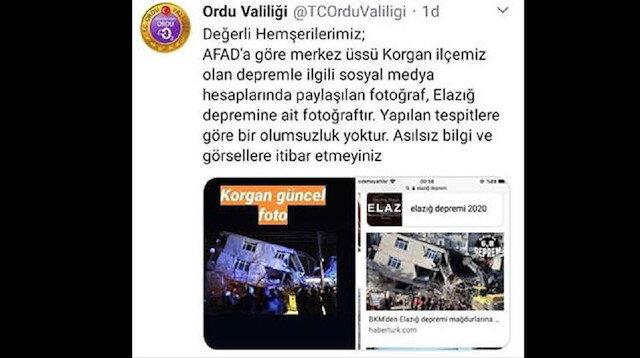 Ordu'da deprem değil fotoğraflar panik oluşturdu:  Sosyal medyada çirkin provokasyon