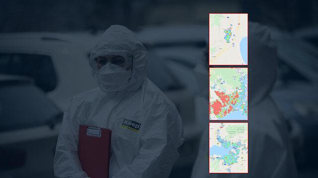 Türkiye'nin il il, sokak sokak koronavirüs yoğunluk haritası