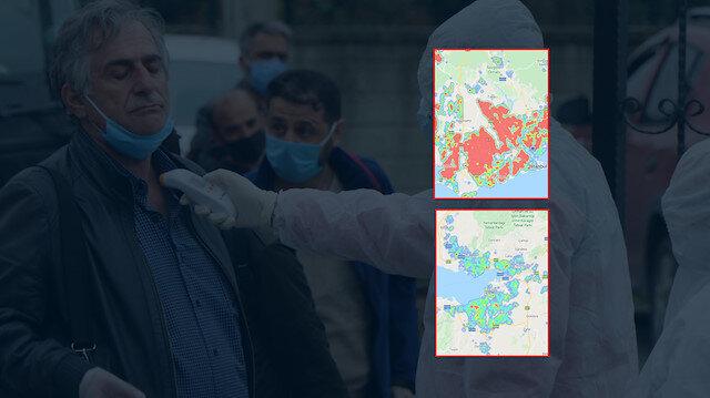 Seyahat yasağı uzatılan 24 il ve seyahat yasağı kalkan 7 ilin koronavirüs yoğunluk haritası