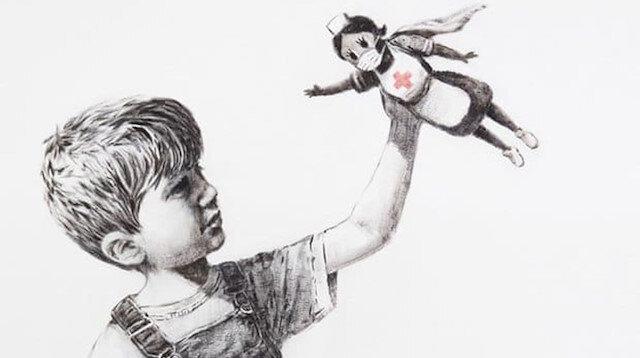 Dünyaca ünlü sokak sanatçısı Banksy'den karantinada yeni çalışma: Sağlık çalışanları için çizdi