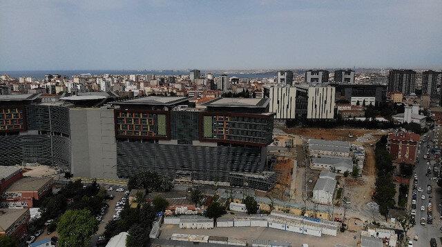 Birinci etabı tamamlanan Göztepe Şehir Hastanesi havadan görüntülendi