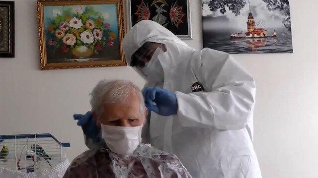 Berbere gidemeyen 65 yaş üstü vatandaşlara evde tıraş hizmeti