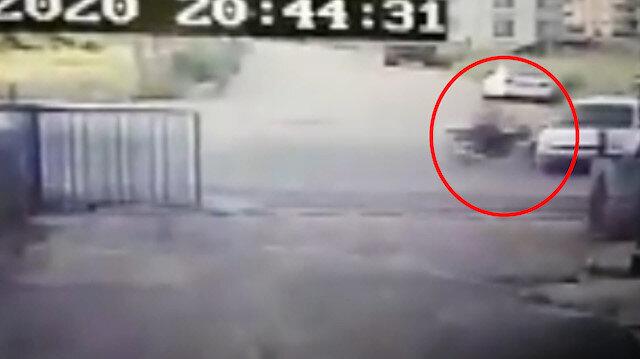 Adıyaman'da, motosikletlinin öldüğü kaza güvenlik kamerasında