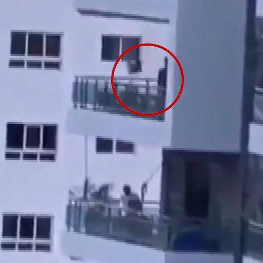 Bilinçsiz baba, çocuğunu sekizinci kattaki balkona kurduğu salıncakla boşluğa salladı