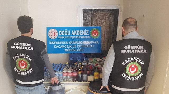 Gümrük Muhafaza, İskenderun'da 668 litre sahte içki ele geçirdi