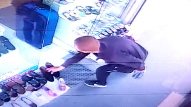 Hatay'da güpegündüz ayakkabı hırsızlığı kameraya yansıdı