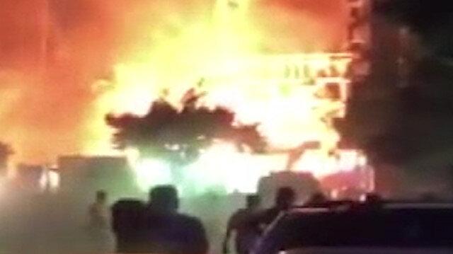 Köprü inşaatı sırasında doğalgaz borusu patladı