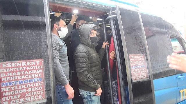 Esenyurt'ta minibüsten 7 yerine 35 yolcu çıktı