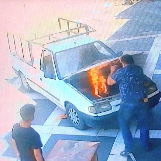 Alev alan kamyonetin içindeki çocuklar saniyelerle kurtuldu