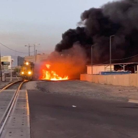 ABDde raydan çıkan tren alev alev yandı