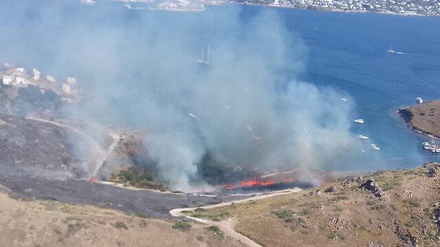 Muğla'nın Bodrum ilçesinde makilik ve otluk alanda yangın