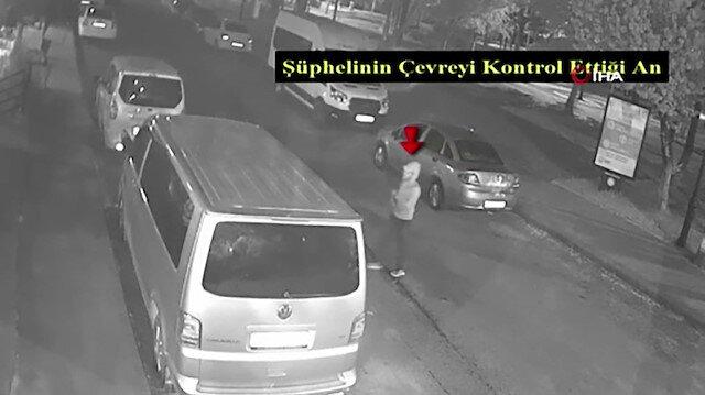 Park halindeki araçtan hırsızlık anları güvenlik kamerasında