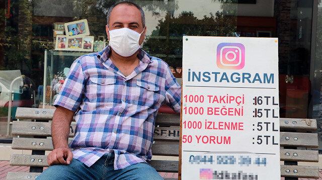 Adana sokaklarında tezgah açıp Instagram takipçisi ve etkileşim satıyor