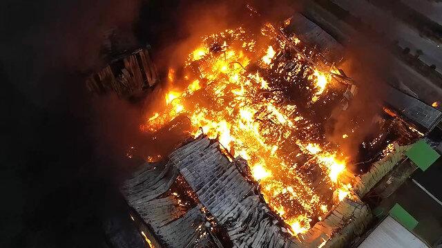Adana'da nişasta fabrikasında korkutan yangın