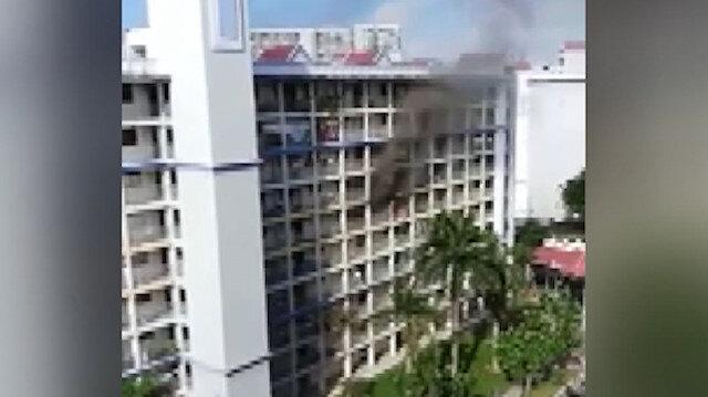 Singapur'da dev yangın: 150 kişi tahliye edildi