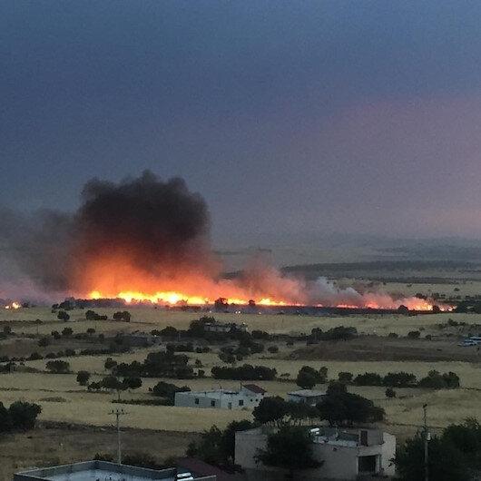 Diyarbakırdaki yangında yüzlerce dönüm arazi küle döndü