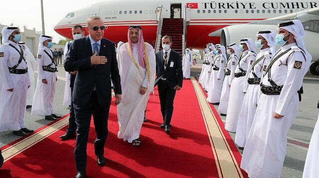 Salgın sonrası ilk ziyaret: Cumhurbaşkanı Erdoğan, Katar'da