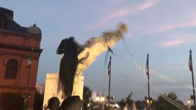 ABD'de sular durulmuyor: Göstericiler Kristof Kolomb'un bir heykelini daha yıktı