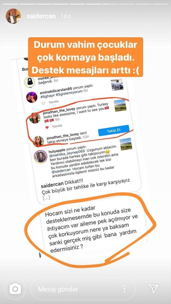 USMED Başkanı Said Ercan'a ulaşan bir çocuk yardım istiyor.