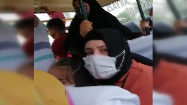 Minibüste maske uyarısı sırasında ortalık karıştı