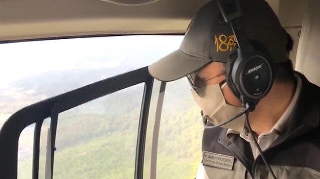 Tarım ve Orman Bakanı Pakdemirli yangın bölgesini havadan inceledi