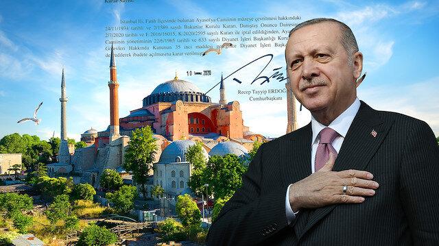 Cumhurbaşkanı Erdoğan, Ayasofya'nın ibadete açılmasına ilişkin kararnameyi imzaladı: Hayırlı olsun