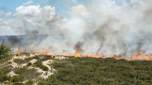 Tuzla'da otluk alanda yangın çıktı