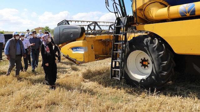 Akyurt Belediye Başkanı Hilal Ayık arpa hasadında
