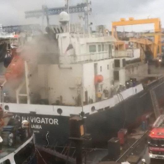 Tuzlada korkutan gemi yangını